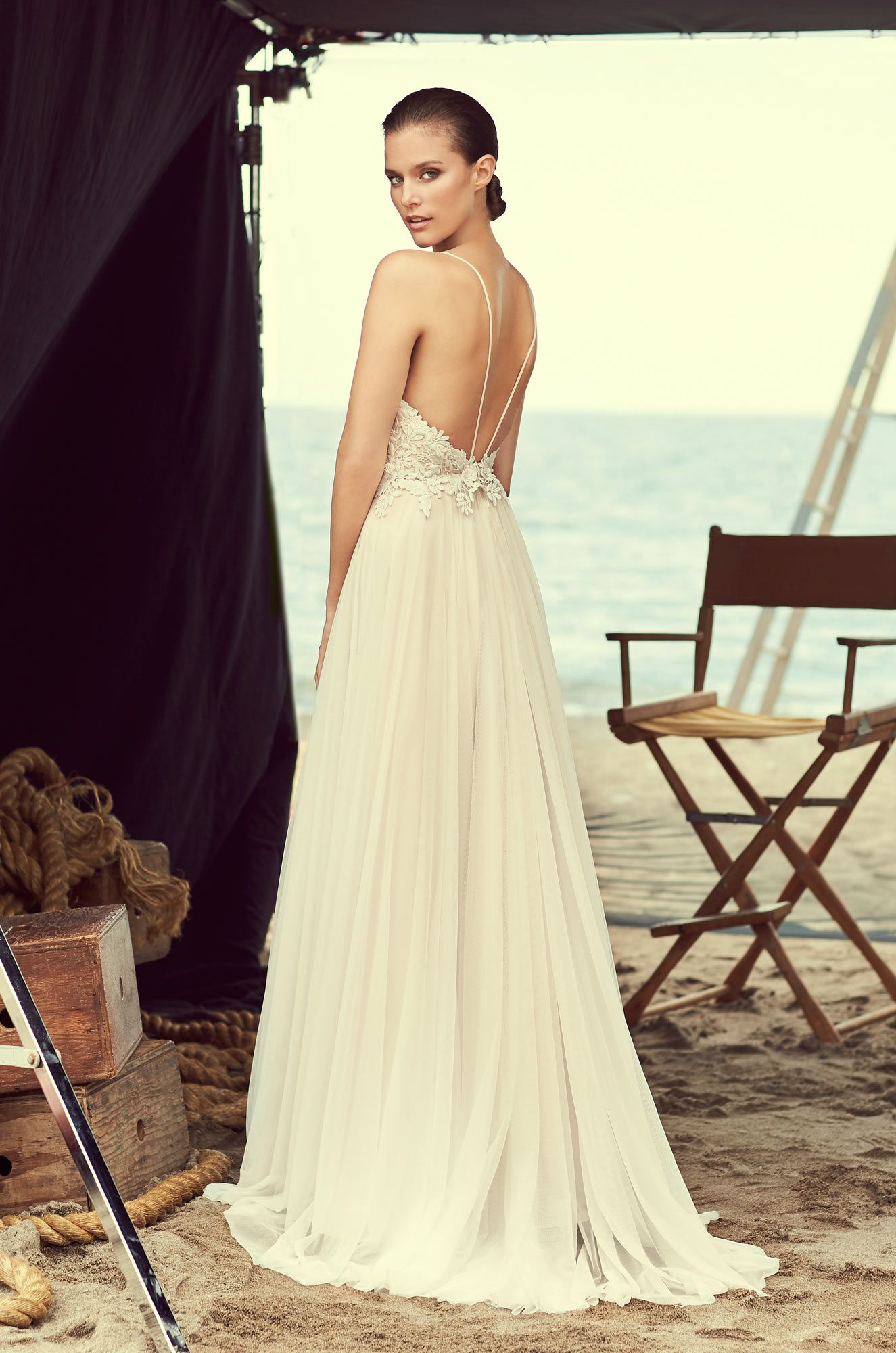 Plunging sweetheart wedding dress style lace bodice tulle