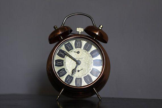 Vintage German Jerger Alarm Clock Large Copper Color ...