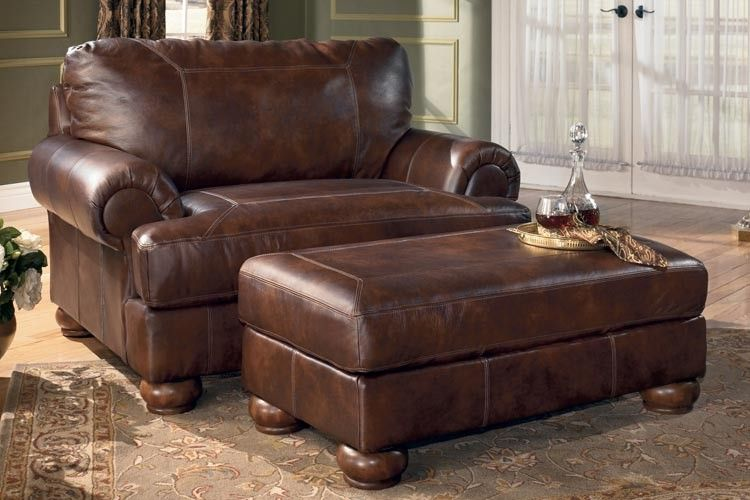 Ashley Ramsey Brindle Leather Chair And A Half