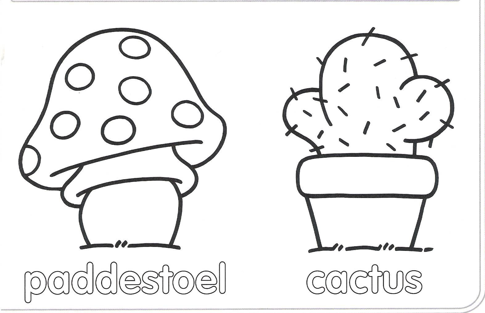 Tuin En Tuinmateriaal 2 Kleurplaten Cactus Paddestoelen