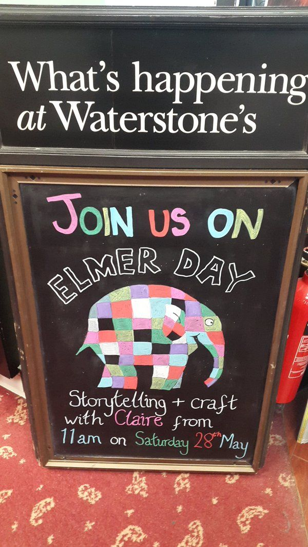 Another gorgeous #ElmerDay chalk board - this one was shared by Waterstones Aylesbury!