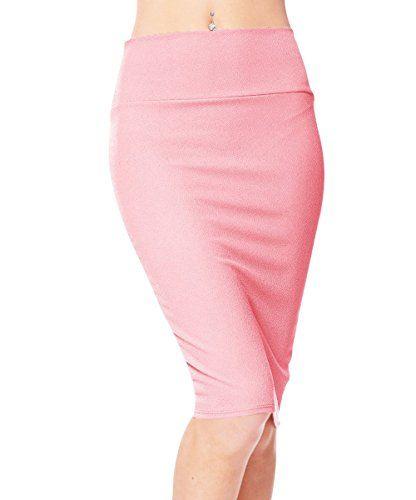 2b39ddc9e669 Urbancoco Damen Bleistift Rock Kurz Hohe taille Stretch Business Rock (M,  pink)  shoppondoröcke