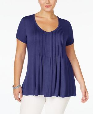 American Rag Trendy Plus Size Pintucked Tee - Blue 2X