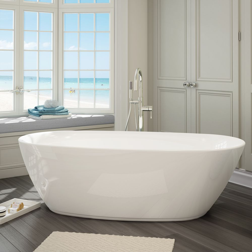 Sequana White Acrylic Free-standing Bathtub with Handheld Shower ...