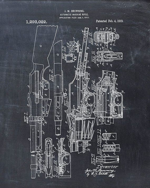 Browning Automatic Rifle Patent Print - Patent Art Print - Patent - new blueprint gun art