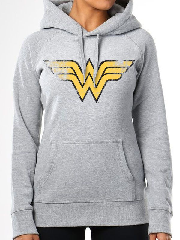 Official Wonder Woman Vintage Fitted Hoodie Pullover Sweatshirt DC Comics Grey