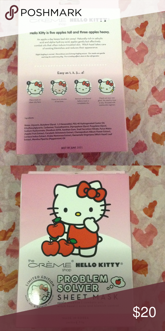 21676d1b2 LIMITED EDITION HELLO KITTY FACE SHEET MASK BRAND NEW HELLO KITTY X THE  CREME SHOP FACE MASK PACKAGE INCLUDES 3 SHEET MASK NEW IN BOX Hello Kitty  Makeup