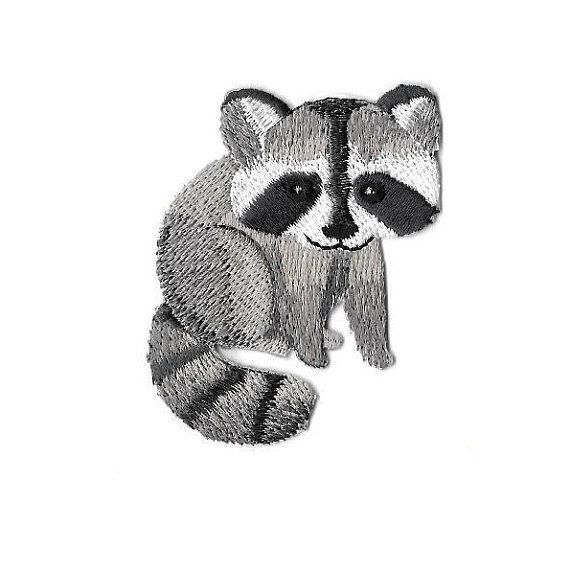 Baby Raccoon Iron on Applique//Embroidered Patch Childrens Animal