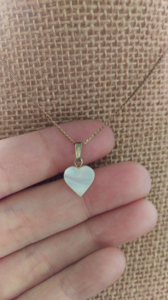 9404bd9fd66 Petite Vintage 1970's Mother Of Pearl Heart Pendant on Serpentine ...