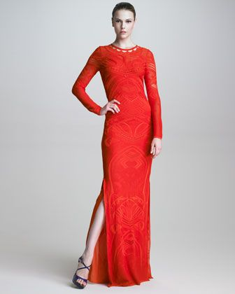 Roberto Cavalli Pointelle-Knit Long-Sleeve Maxi Dress | What I ...