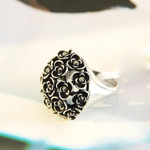Silver Flower Cocktail Ring Vintage Deco Victorian Rose Bloom Size 7 8 9 USA #Cocktail