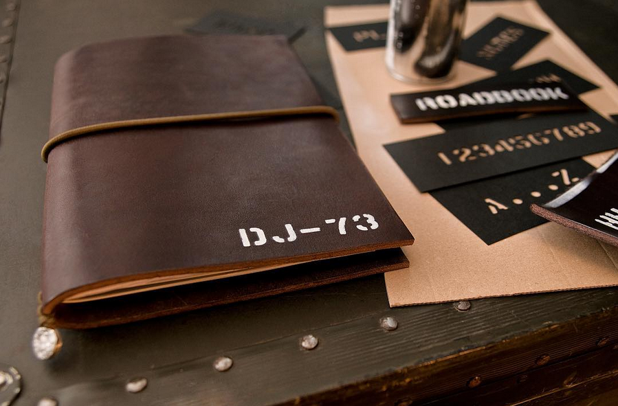 Rugged leather notebook with custom stencil lettering -- handcrafted from best 3,5mm veg tanned leather with a beautiful natural raw textured surface