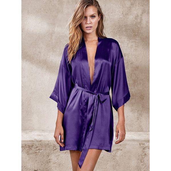 Victoria\'s Secret Satin Kimono Robe ($50) ❤ liked on Polyvore ...