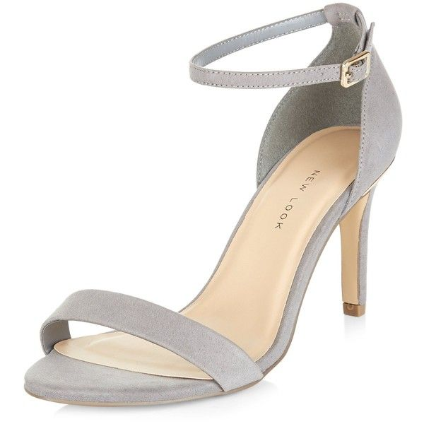 New Look Wide Fit Grey Suedette Metal Trim Ankle Strap Heels (£20) ❤ liked on Polyvore featuring shoes, pumps, grey, grey pumps, grey shoes, wide pumps, wide shoes and ankle strap pumps