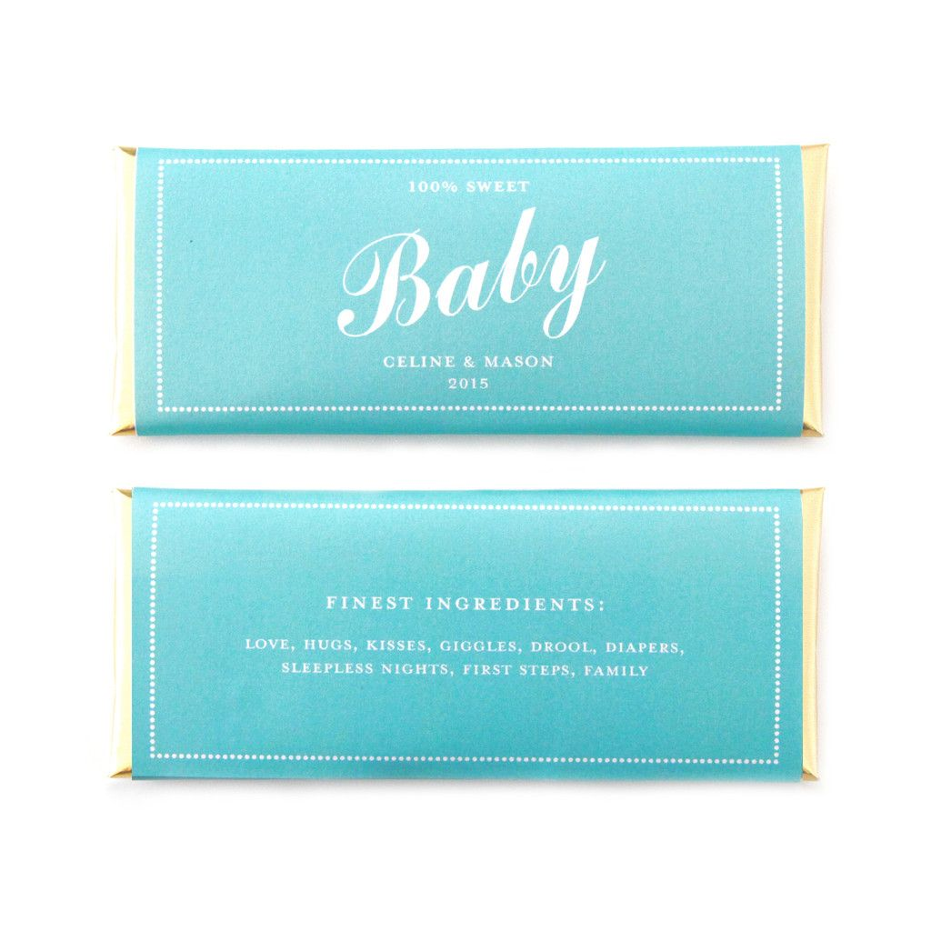 Baby Shower Personalized Candy Bar Wrapper in Tiffany Blue and ...