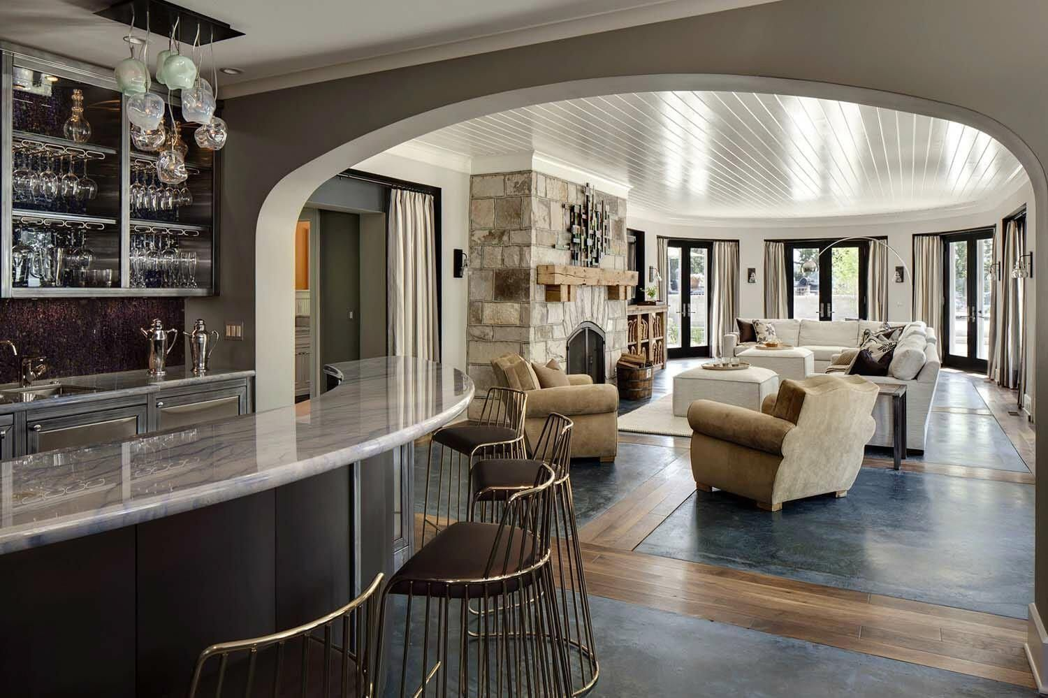 Luxury home Bar – Whimsical shinglestyle home features fabulous living on Lake G…
