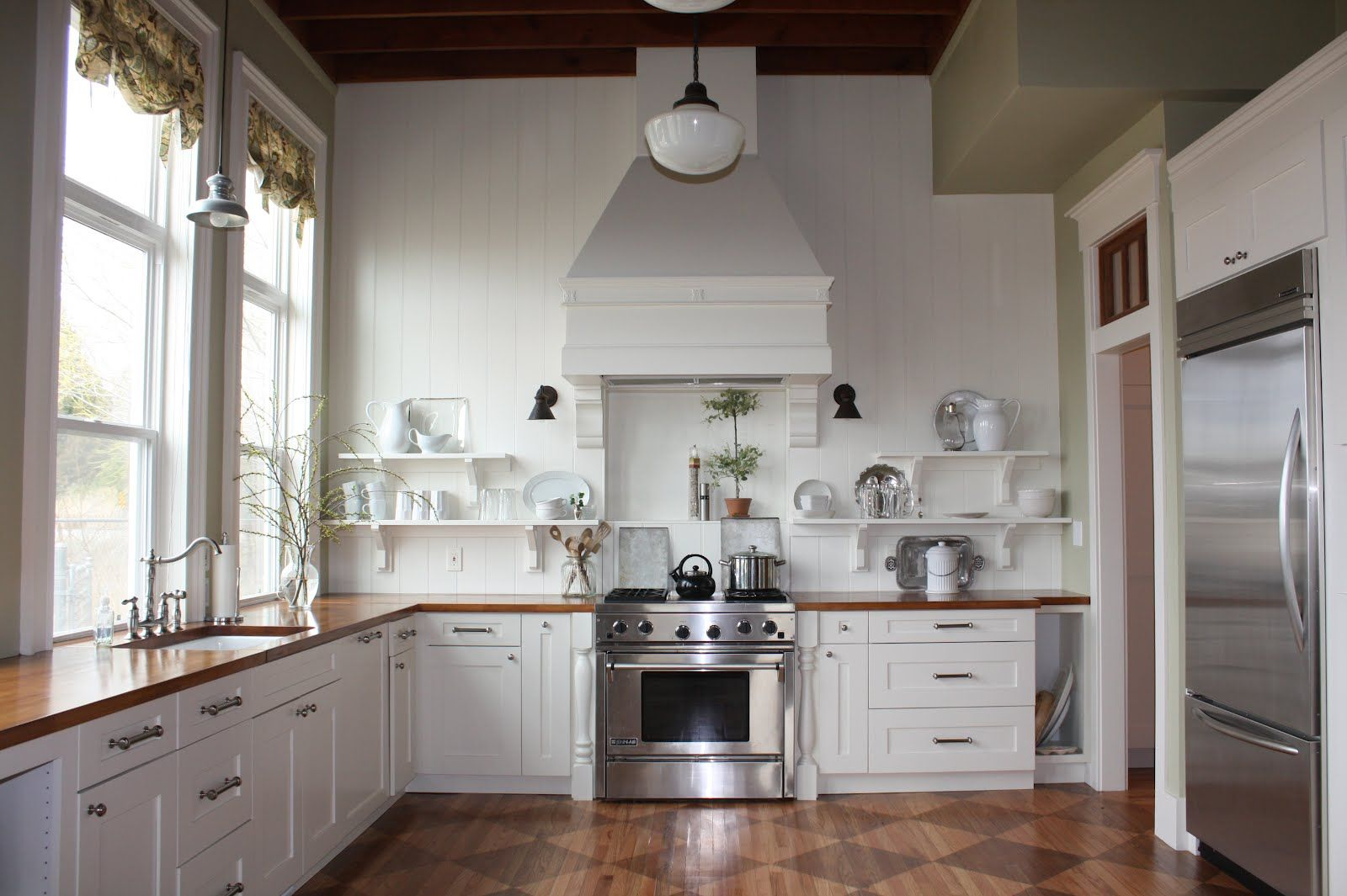 Favorite Pin Friday Kitchen Makeover From 1912 Home Beneath My Heart Kitchen Without Backsplash Kitchen Without Island Kitchens Without Upper Cabinets
