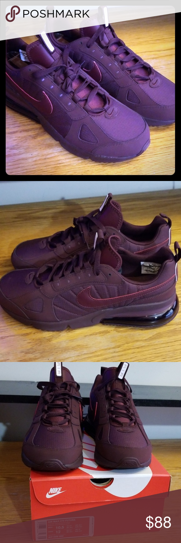 Nike Air Max 270 Futura Burgundy Crush 10.5 Brand New with