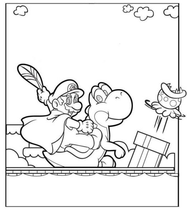 Super Mario World Coloring Page 4 Kids Coloring Pages Pinterest