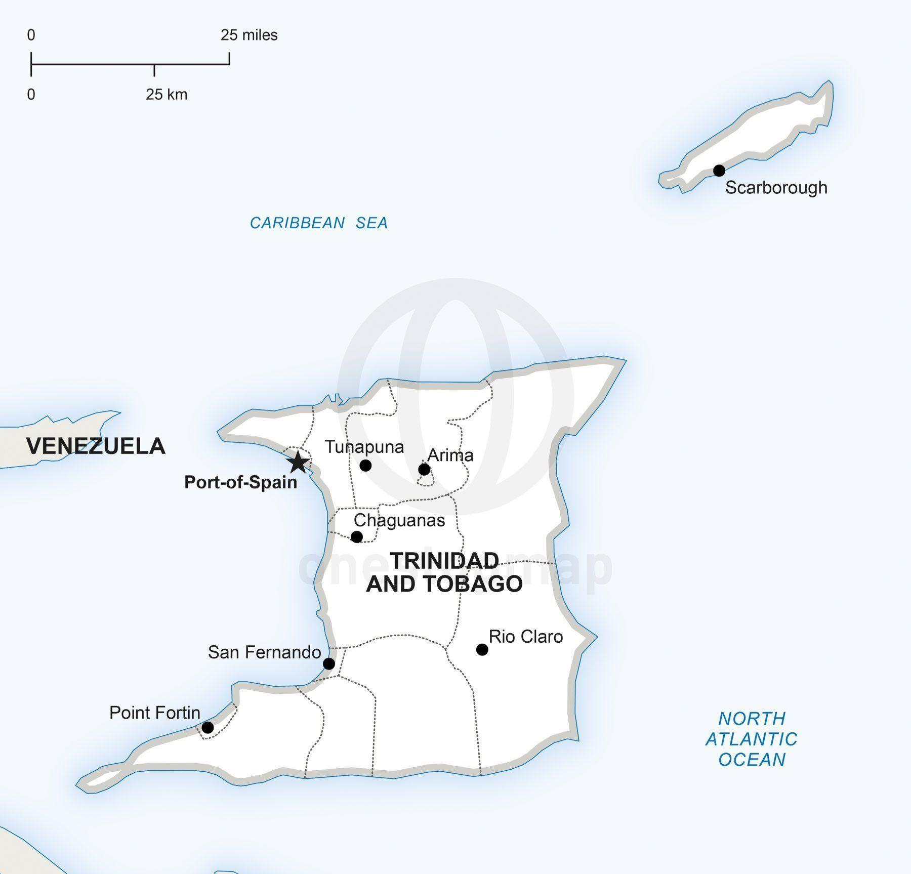 Vector Map of Trinidad and Tobago Political Trinidad