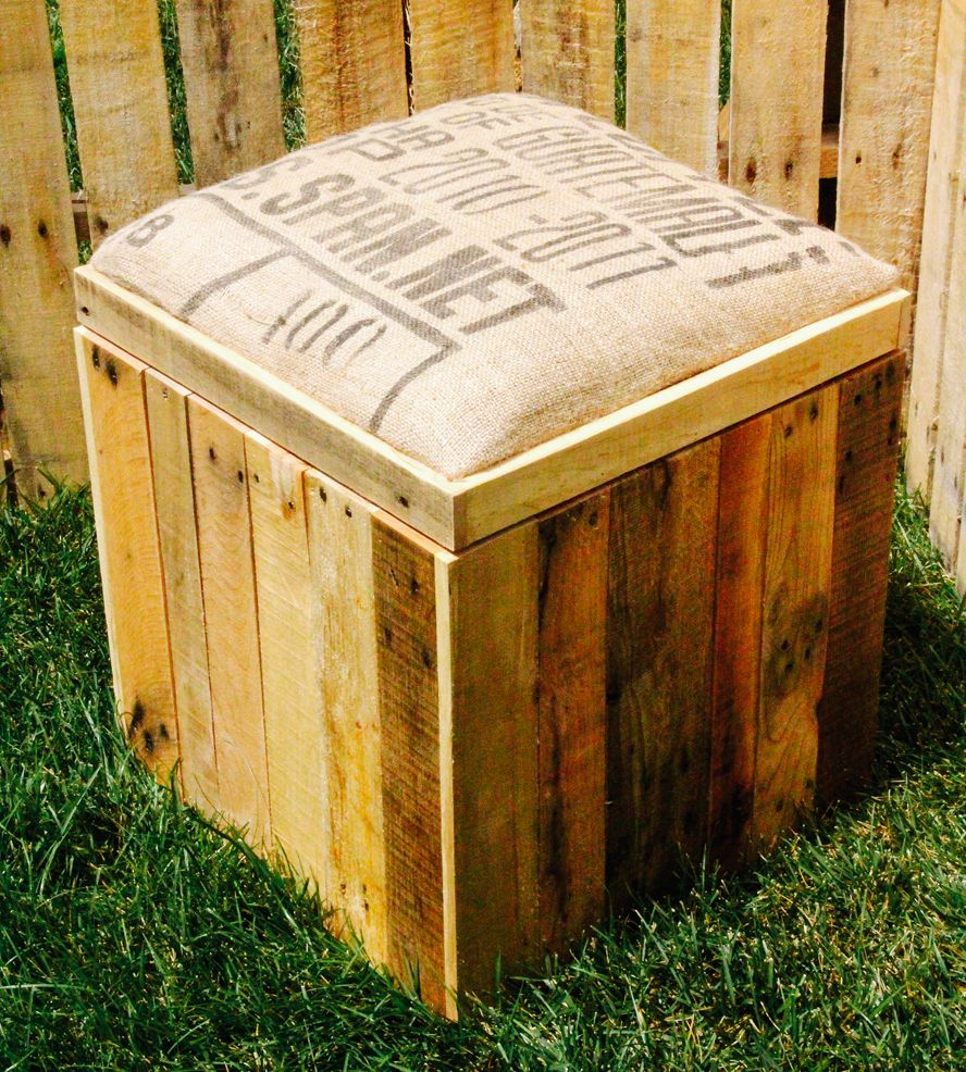 Reclaimed Wood Storage Ottoman with Padded Burlap Top - Reclaimed Wood Storage Ottoman With Padded Burlap Top Wood