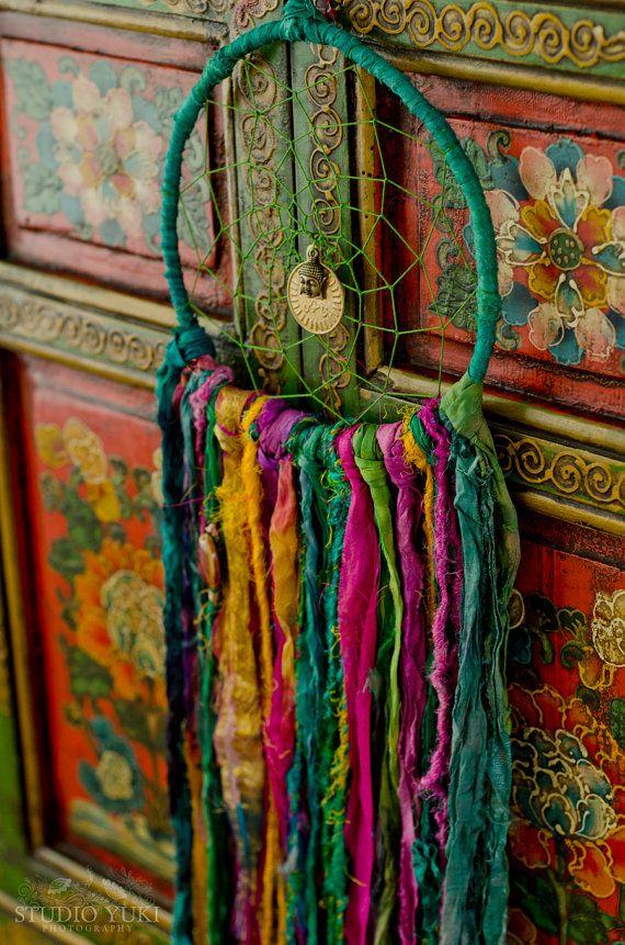 Boho Dreamcatcher, Emerald Green, Pink, Fairy, Hippie, Gypsy Decor, Wall Hanging, Bohemian, Fair Trade, Home Decor, Shabby Chic, Ethnic Art by Studio Yuki