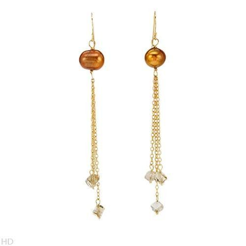 Gold Plated Silver Pearl and Crystal Chandelier Ladies Earrings ...