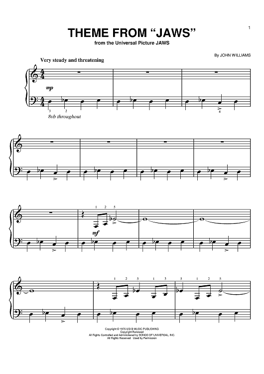 Jaws Theme Song Sheet Music | What Are The Jaws Theme Song