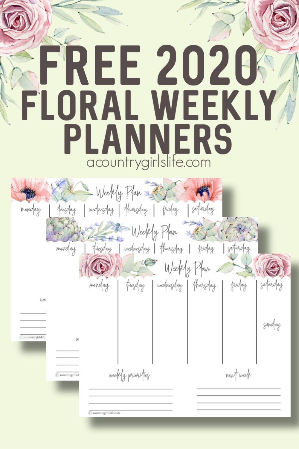 5 FREE Printable Floral Weekly Planners to CRUSH Your