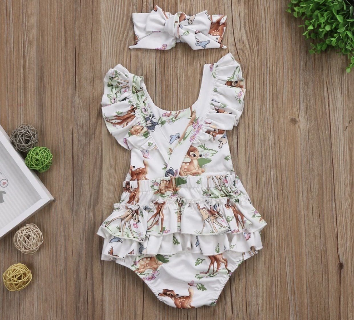 9aa28ad8fdf Baby Girl Disney Bambi Romper Set Outfit