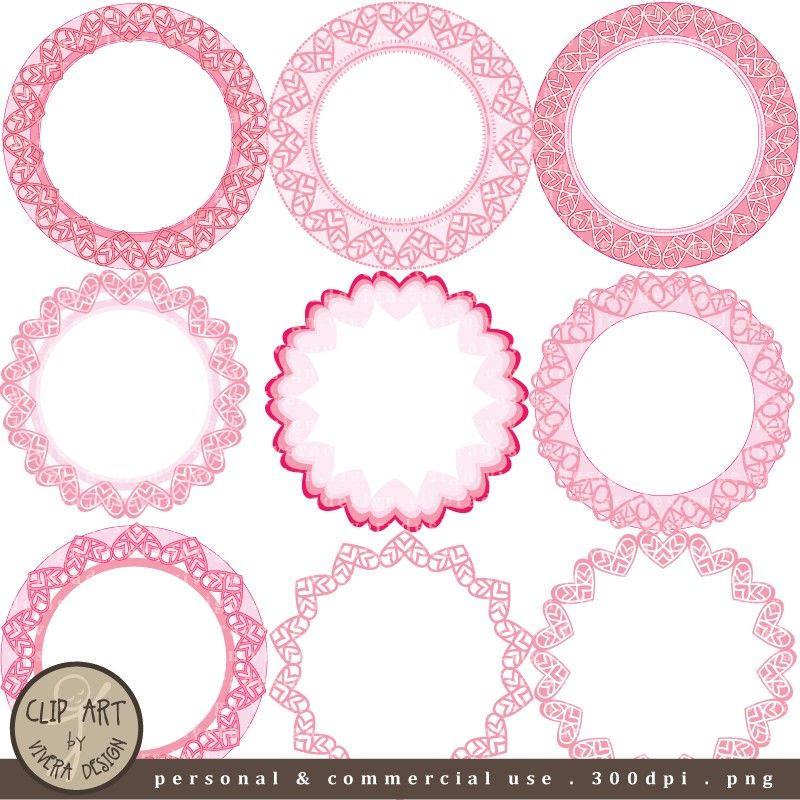 c03a2976279 Digital Clip Art - Circle Frames - Pretty Pink Hearts