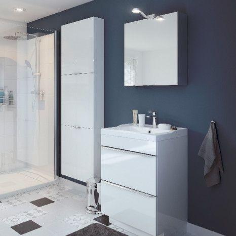 S rie imandra armoire murale blanc l 60 x h 60 x p for Salle de bain imandra
