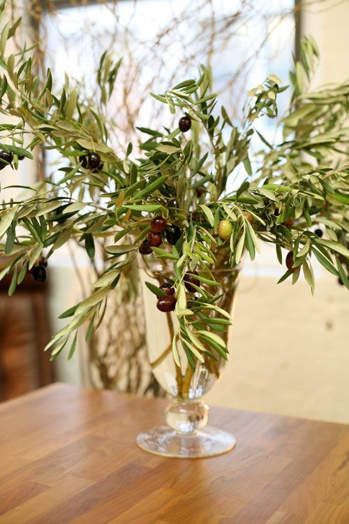 Love the idea of olive branches as greenery for floral for Floral arrangements with branches