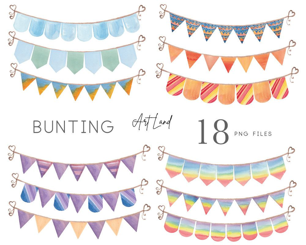 Watercolor Bunting Clipart Watercolor Banners Birthday Etsy In 2021 Clip Art Watercolor Clipart Painting Birthday