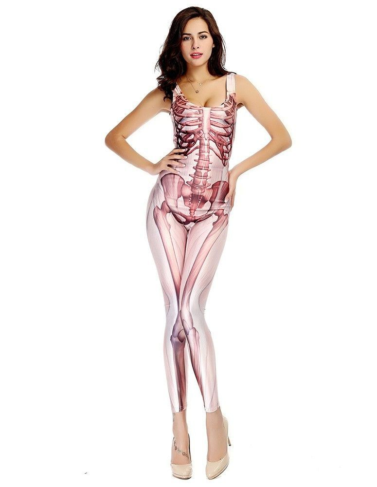 sleeveless skeleton catsuit tight jumpsuit womens halloween costume