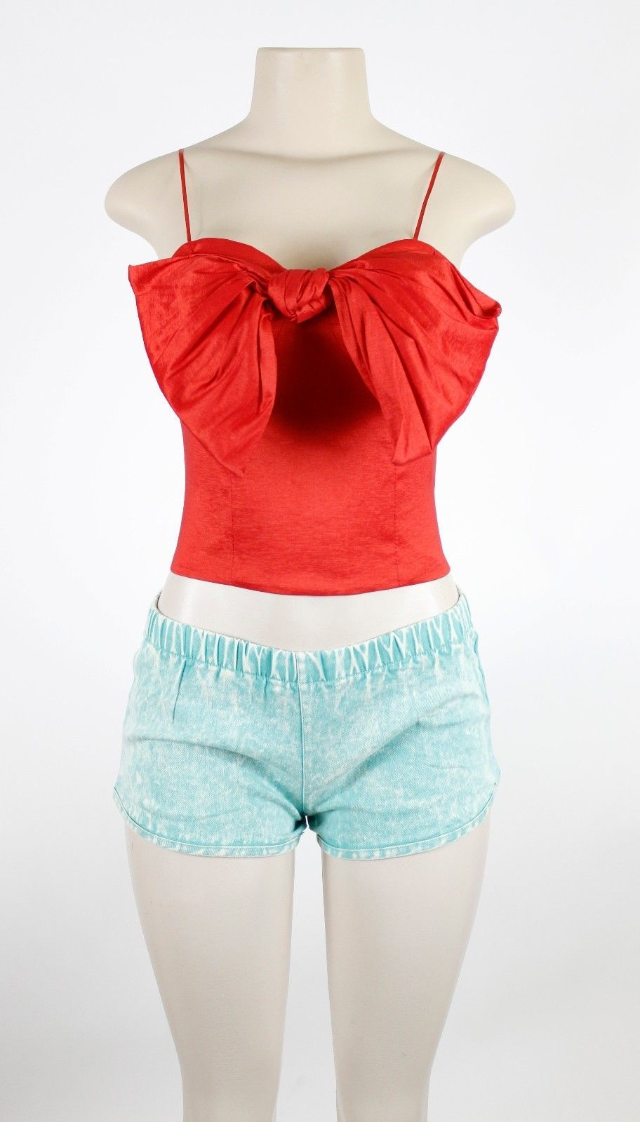 132586df771 Women's Red Large Bow Sweetheart Neck Spaghetti Strap Crop Top S M L ...