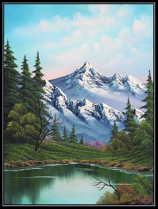 Authentic Bob Ross Painting : authentic, painting, Happy, Little, Painting, Daily, Paintings,, Landscape