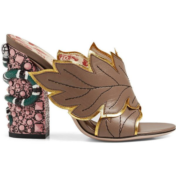 Gucci Crossover Leather Sandal ($995) ❤ liked on Polyvore featuring shoes, sandals, women, leaf sandals, studded high heel shoes, high heel sandals, snake sandals and leather shoes