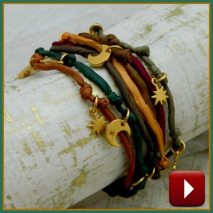 Make your own colorful charm bracelet! Watch our video now at http://www.ninadesigns.com/handmade_jewelry_videos/mutli_strand_how_to.html #jewelry #bracelets #makejewelry