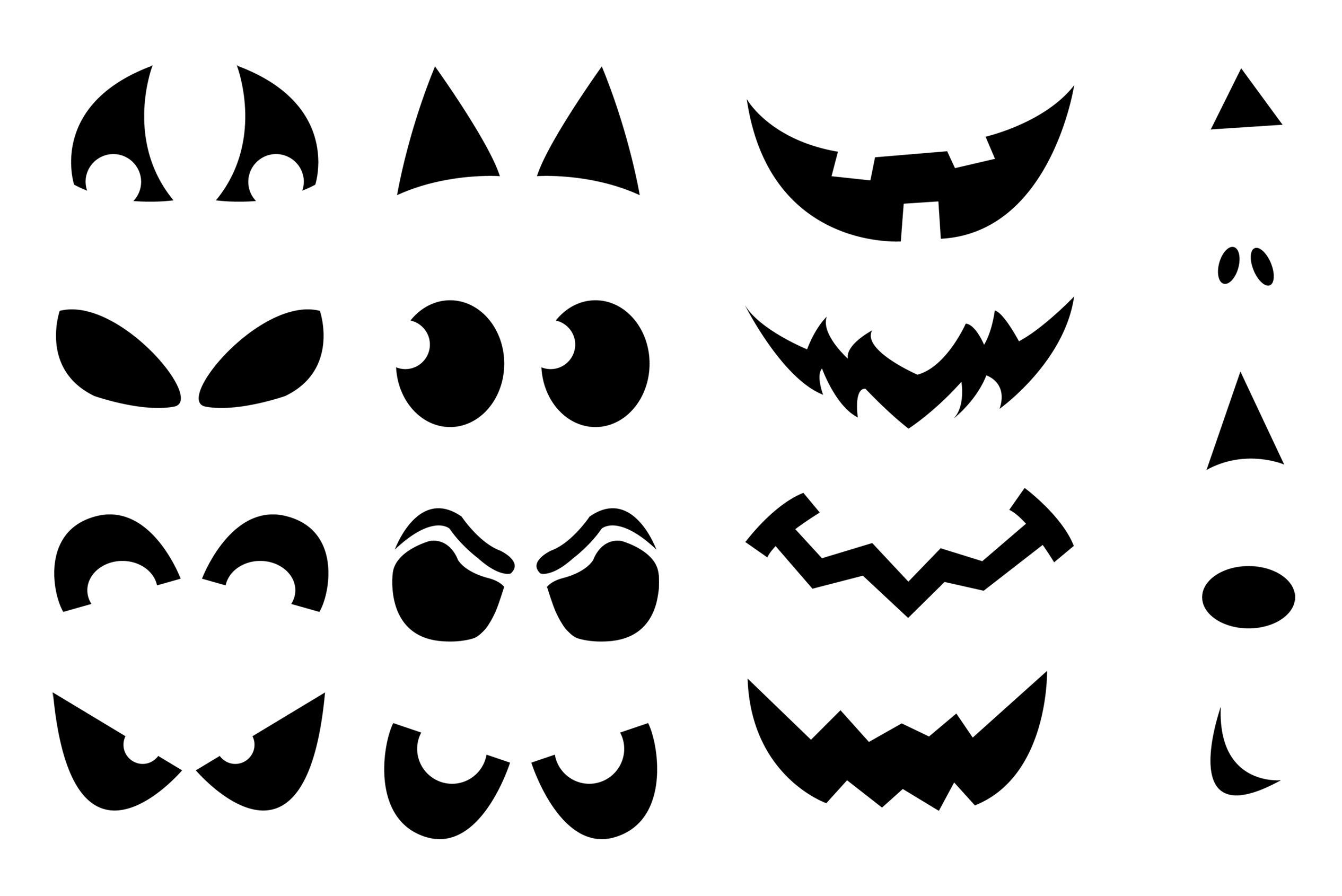 pumpkin template eyes  scary eyes templates | Jack O Lantern Faces Stencils in 7 ...