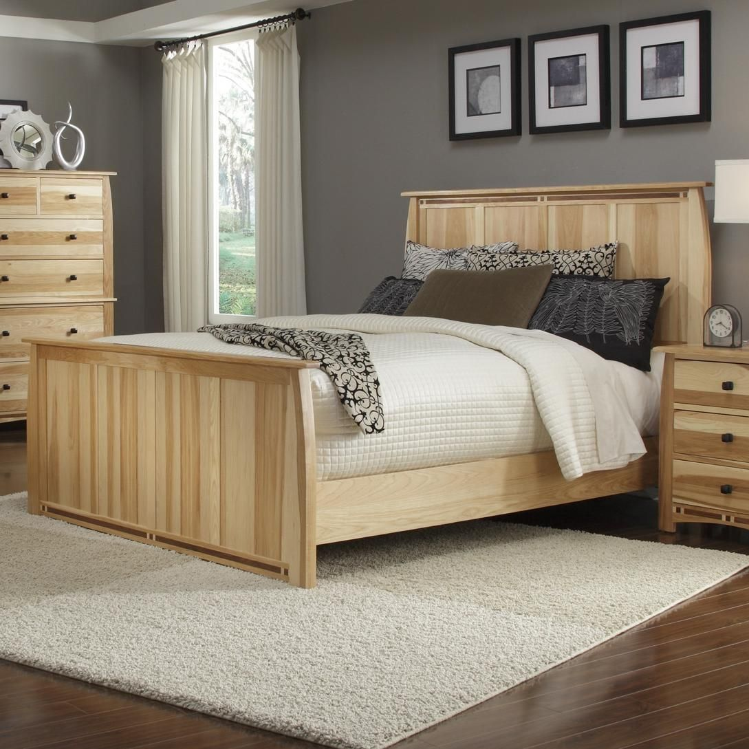 Adamstown Queen Solid Hickory Panel Bed with SteamBent