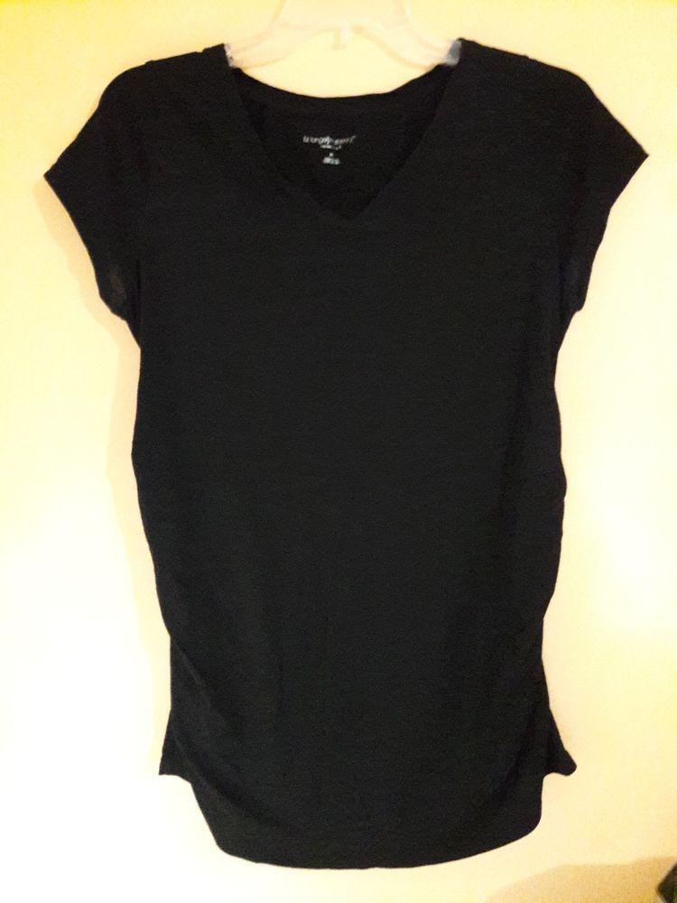 a40b11cfe6360 Liz Lange Maternity Top Size M Short Sleeve V Neck Black Ruched sides Shirt  #fashion