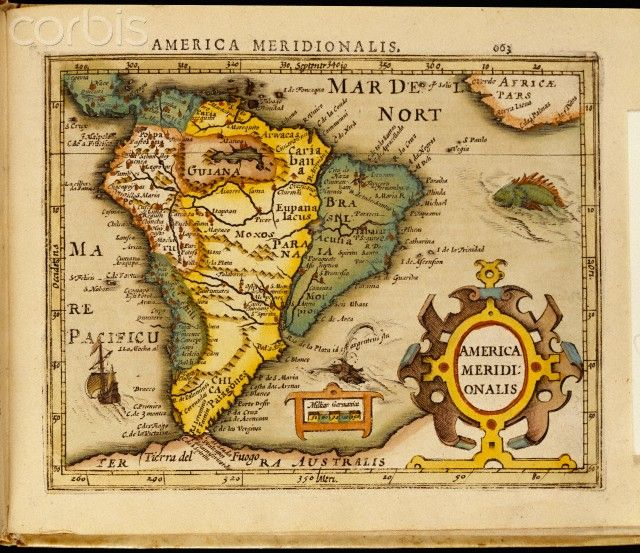 America Meridionalis A Map Of South America Hand Coloring Graphic Art Print Canvas Art