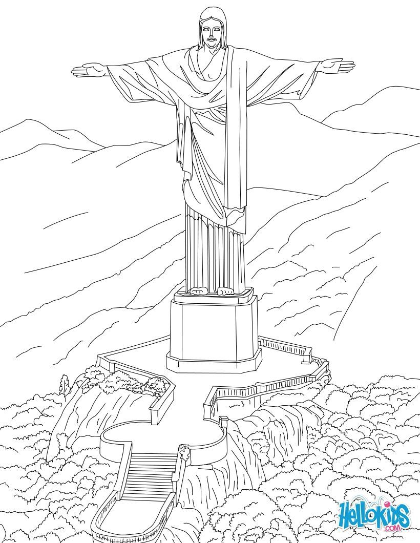 Corcovado Statue In Rio Coloring Page Cidade Desenho Fotos De