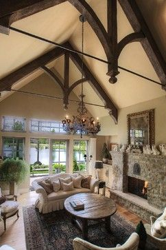 High Ceiling Dark Wood Beams White Travertine Flooring Design Ideas Pictures Remodel And Decor Mediterranean Living Rooms House Design Floor Design
