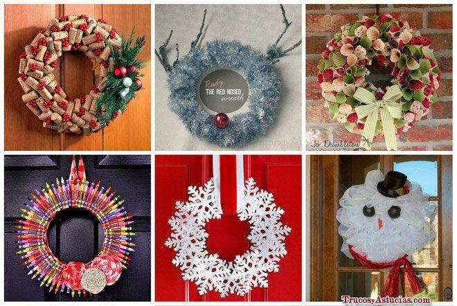 Crea coronas navide as reciclando y ahorrando decoraci n for Decoracion navidena hogar