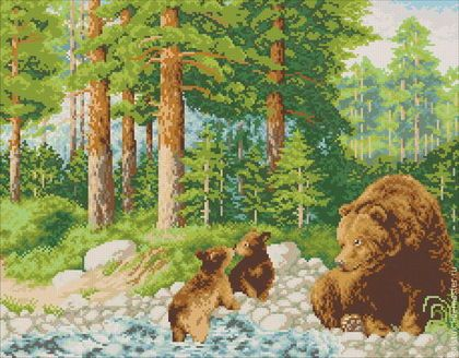 Вышивка медведь в лесу