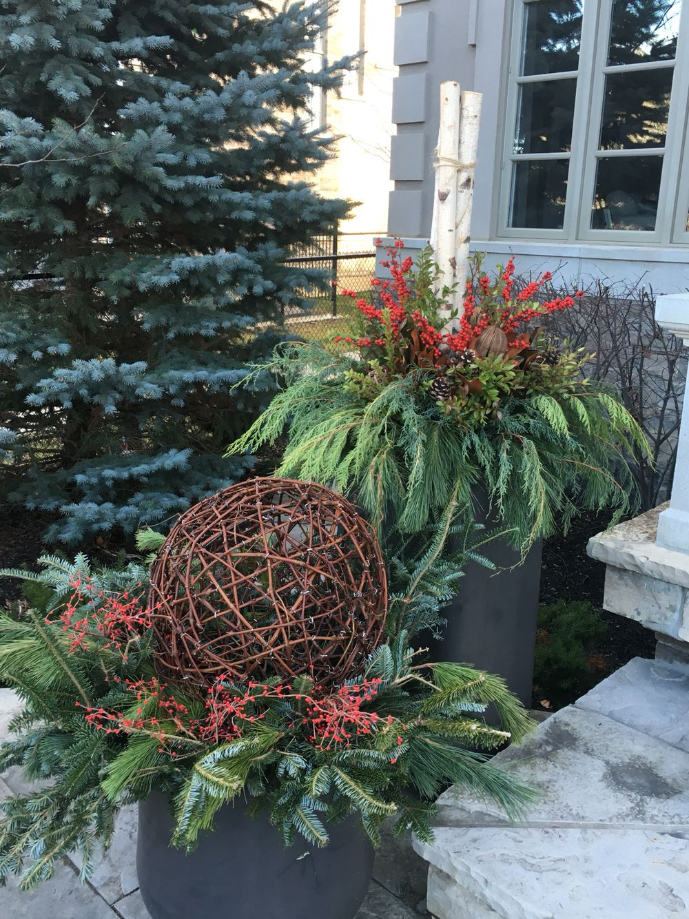 Outdoor Winter planters Wicker ball strung with lights -diy | Tinsel ...