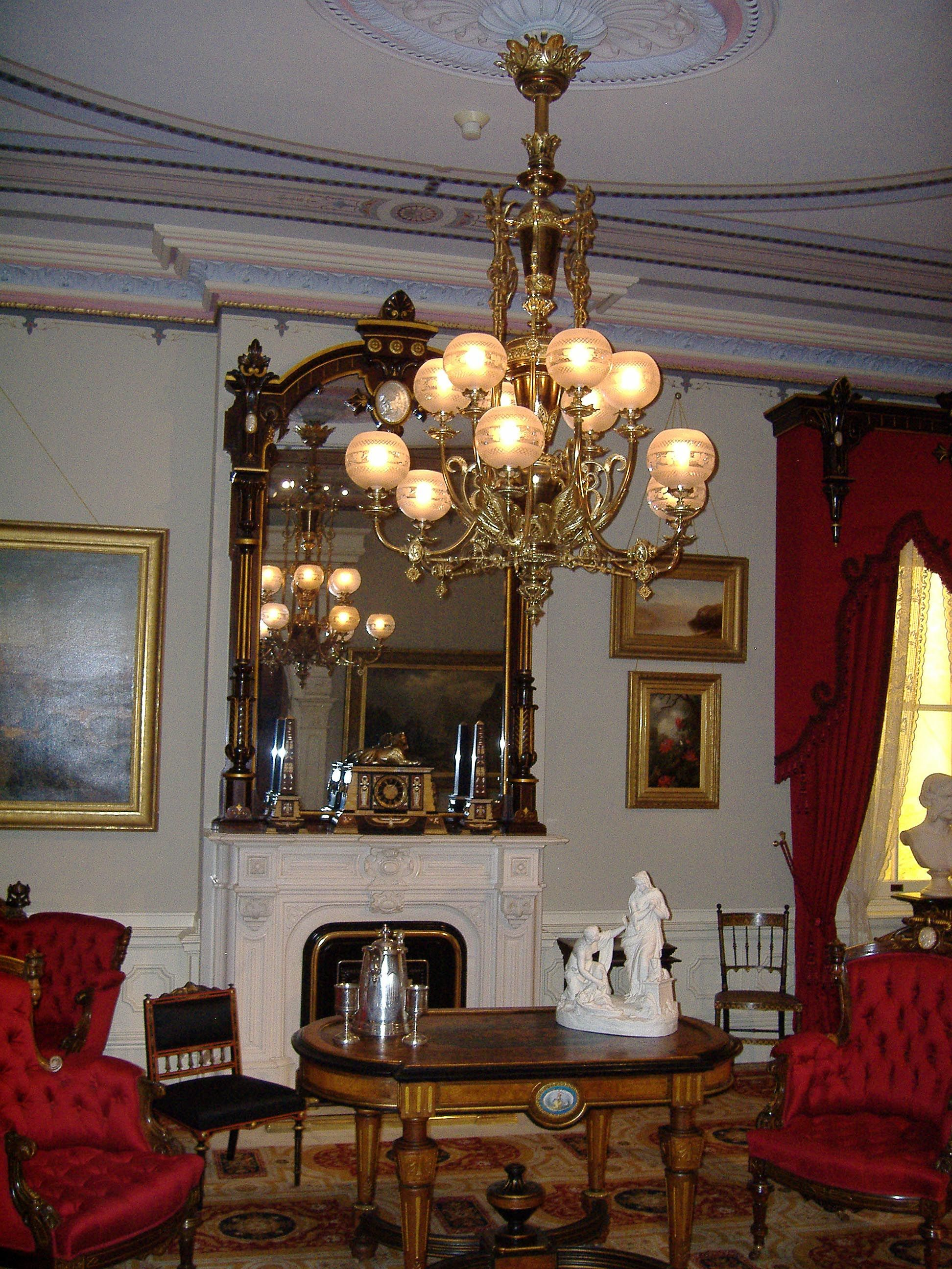 American 1860s parlor mantle and chandelier