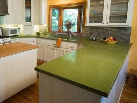 Charming Super Retro Kitchen Complete With A Bold Green Countertop Never Thought Of  Using Green.